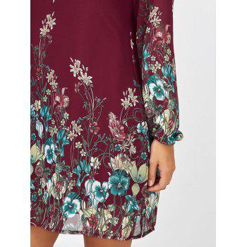 Floral Long Sleeve Chiffon Short Shift Casual Dress - WINE RED WINE RED