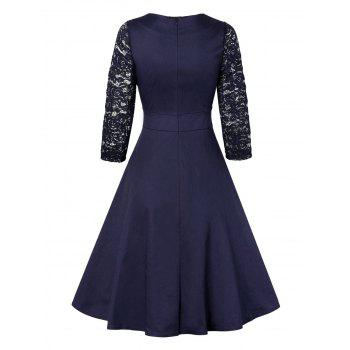 Vintage empiècements en dentelle Pin Up Dress - Bleu Violet L