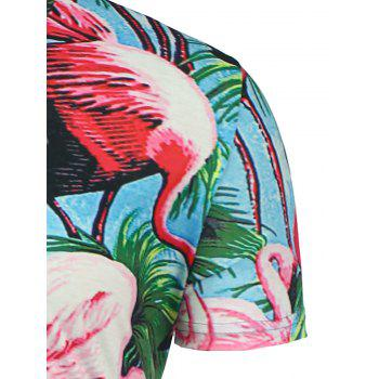 T-shirt Hawaiien Imprimé Flamant Floral 3D à Manches Courtes - multicolorcolore XL