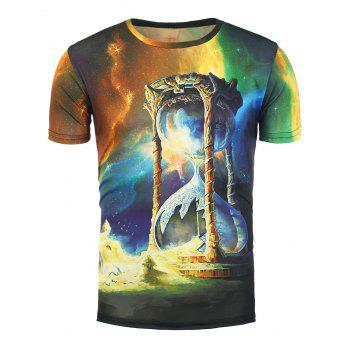 3D Sand Clock Galaxy Print T-Shirt