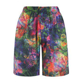 Colorful 3D Floral Print Trippy Board Shorts