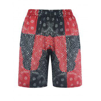 Color Block Panel Paisley Print Board Shorts