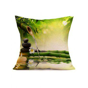 Digital Bamboo Water Stream Linen Throw Pillow Case