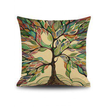 Hand Painted Leaf Tree Linen Square Throw Pillowcase