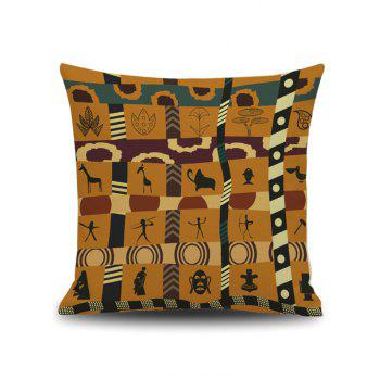 Indian Print Square Linen Throw Pillow Case