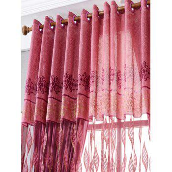 Flower Embroidery Sheer Fabric Tulle with Pendant Decor - RED RED