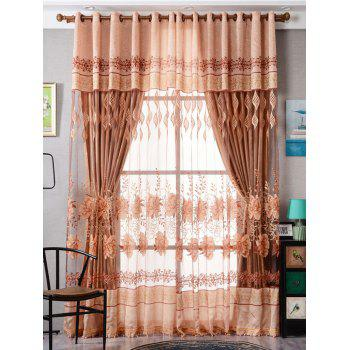 Flower Embroidery Sheer Fabric Tulle with Pendant Decor - LIGHT BROWN W39 INCH*L79 INCH