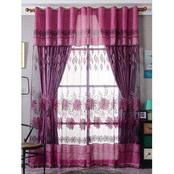 Flower Embroidery Sheer Fabric Tulle with Pendant Decor - PURPLISH RED W39 INCH*L79 INCH