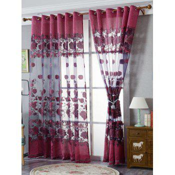 Window Screen Sheer Flower Tulle Curtain For Living Room - PURPLISH RED W39 INCH*L79 INCH