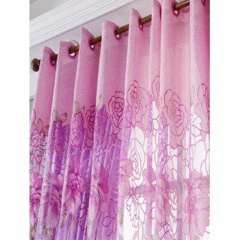 Flower Embroidered Sheer Window Tulle For Living Room - PINK PINK
