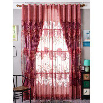 Flower Embroidered Sheer Window Tulle For Living Room - BRICK-RED W39 INCH*L79 INCH