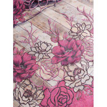 Flower Embroidered Sheer Window Tulle For Living Room - PURPLISH RED PURPLISH RED