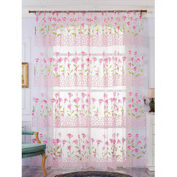 Calla Lily Embroidery Sheer Window Decor Tulle Curtain - PINK W39 INCH*L79 INCH