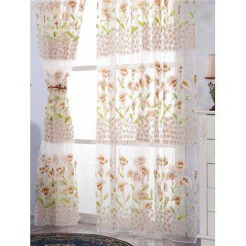 Calla Lily Embroidery Sheer Window Decor Tulle Curtain - KHAKI W39 INCH*L79 INCH