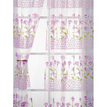 Calla Lily Embroidery Sheer Window Decor Tulle Curtain - W39 INCH*L79 INCH W39 INCH*L79 INCH