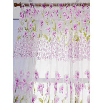 Calla Lily Embroidery Sheer Window Decor Tulle Curtain - W39 INCH*L98 INCH W39 INCH*L98 INCH