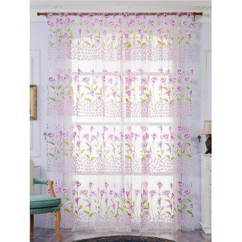 Calla Lily Embroidery Sheer Window Decor Tulle Curtain - LIGHT PURPLE W39 INCH*L98 INCH