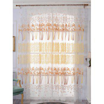 Leaf Pattern Sheer Tulle Fabric Window Curtain - YELLOW W59 INCH*L98 INCH
