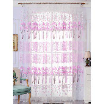 Leaf Pattern Sheer Tulle Fabric Window Curtain - LIGHT PURPLE W59 INCH*L79 INCH