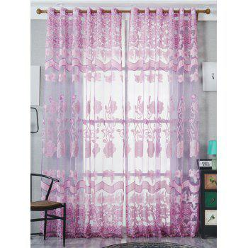 Jacquard Window Sheer Tulle Curtain For Living Room - LIGHT PURPLE W39 INCH*L79 INCH