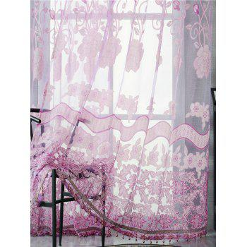 Jacquard Window Sheer Tulle Curtain For Living Room - LIGHT PURPLE W39 INCH*L98 INCH