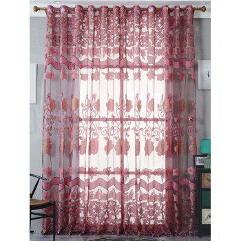 Jacquard Window Sheer Tulle Curtain For Living Room - DARK RED W39 INCH*L79 INCH