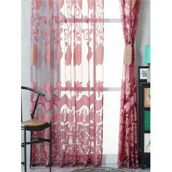 Jacquard Window Sheer Tulle Curtain For Living Room - DARK RED DARK RED