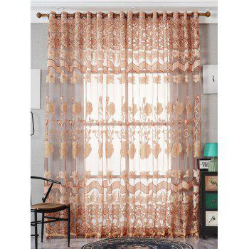 Jacquard Window Sheer Tulle Curtain For Living Room - LIGHT BROWN W39 INCH*L79 INCH