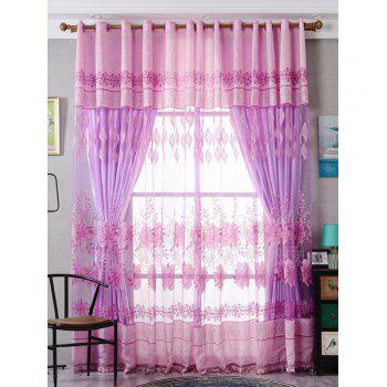 Flower Embroidery Sheer Fabric Tulle with Pendant Decor - PINK W39 INCH*L79 INCH