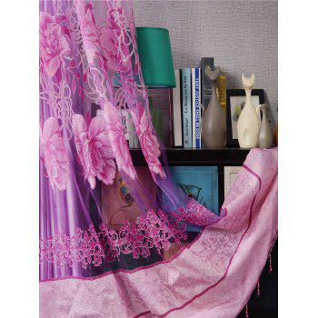 Flower Embroidery Sheer Fabric Tulle with Pendant Decor - PINK PINK