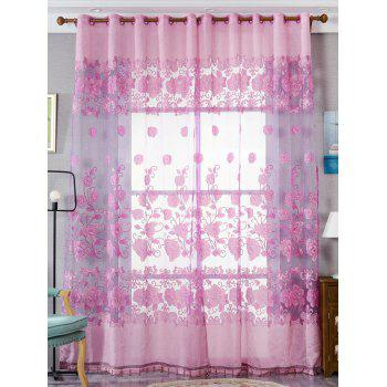 Window Screen Sheer Flower Tulle Curtain For Living Room - PINK W39 INCH*L79 INCH