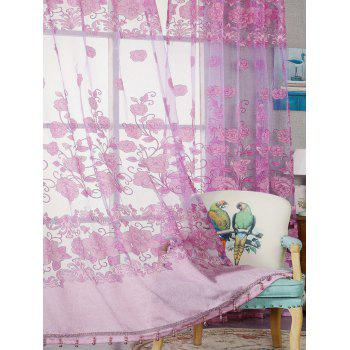 Window Screen Sheer Flower Tulle Curtain For Living Room - PINK PINK