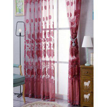Window Screen Sheer Flower Tulle Curtain For Living Room - RED RED