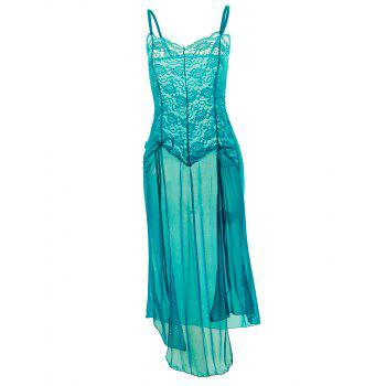 Plus Size Maxi Lace Top Sheer Slip Dress