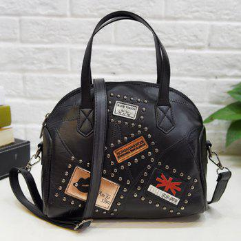 Faux Leather Rivet Patches Handbag