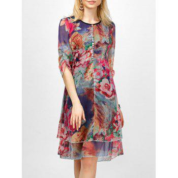 Floral Printed Tiered Asymmetric Dress