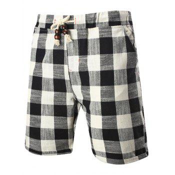 Drawstring Elastic Waist Checked Shorts