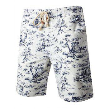 Drawstring Chinese Painting Printed Shorts