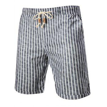 Drawstring Elastic Waist Stripes Shorts