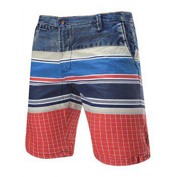 Zipper Fly Striped Denim Panel Shorts