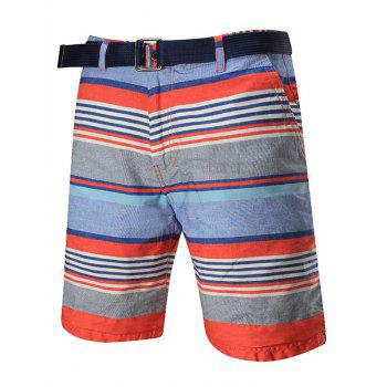 Zipper Fly Striped Reversible Shorts
