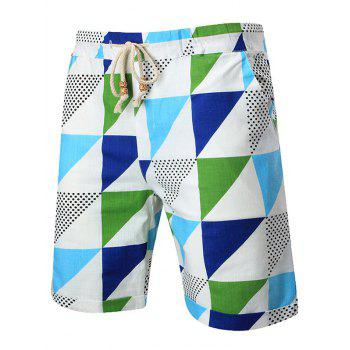 Geometric Printed Drawstring Waist Shorts