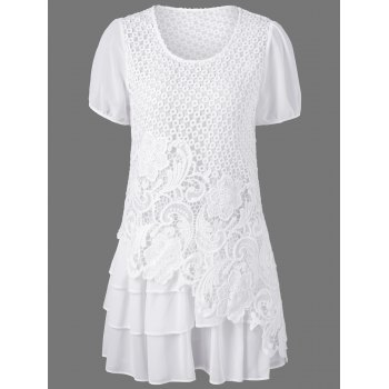 Cutwork Floral Layered Blouse