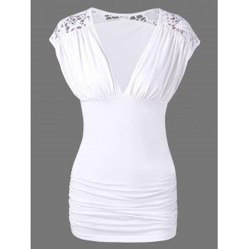 Lace Trim Low Cut Ruched Blouse