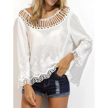 Embroidered Crochet Lace Trim Blouse