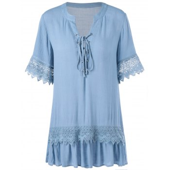 Lace Inset Tunic Blouse