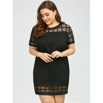 Plus Size Voile Panel Shift Mini Dress - 3XL 3XL