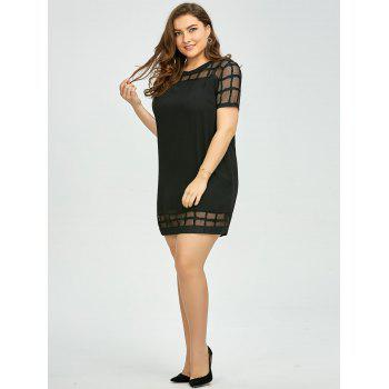 Plus Size Voile Panel Shift Mini Dress - BLACK BLACK