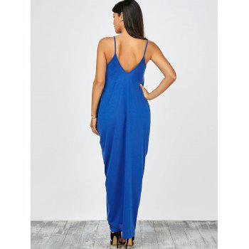 Plongeant Neck Loose Fit Maxi Dress - Bleu L
