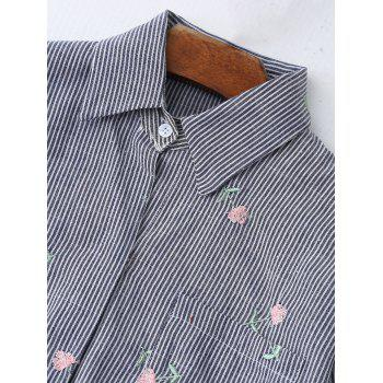High Low Embroidered Pocket Striped Shirt - LIGHT GREY XL